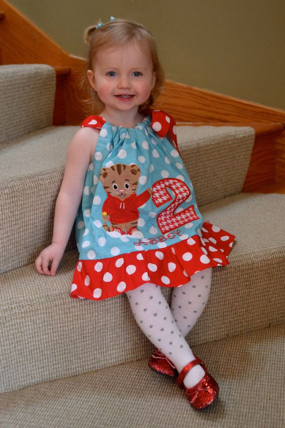 Toddler Daniel dress in aqua and white dots with red and white trim, for a birthday or any occasion. on Etsy, $28.50