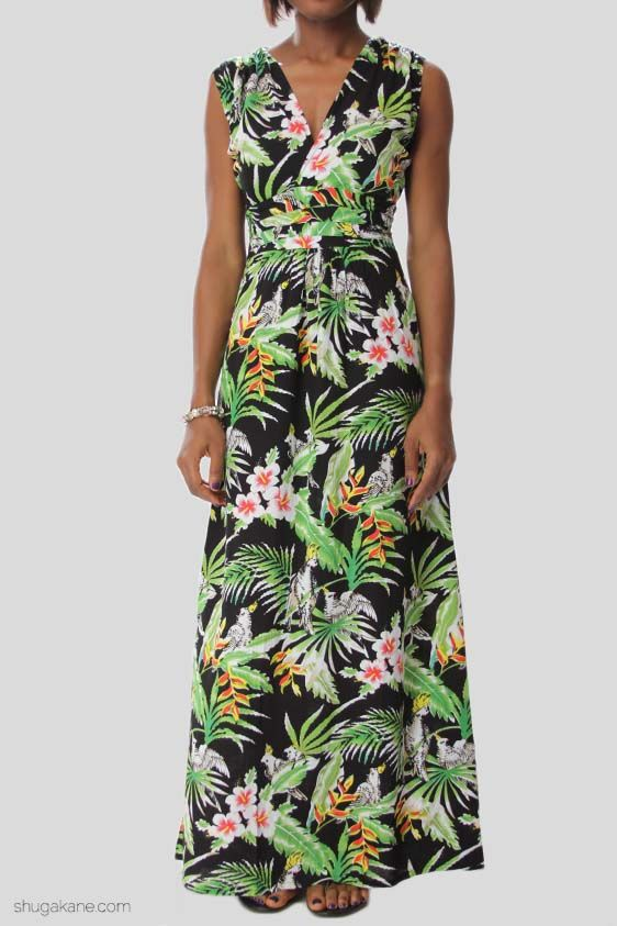 Amazon Tropical Print Maxi Dress
