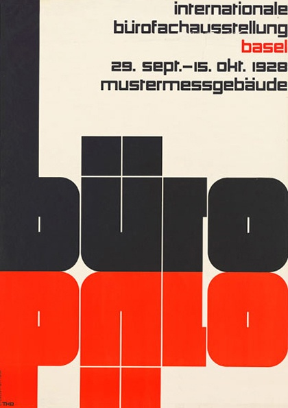 """Theo Ballmer (1902–65). In his """"Büro"""" poster, both the black word and its red reflection are carefully developed on the underlying grid."""