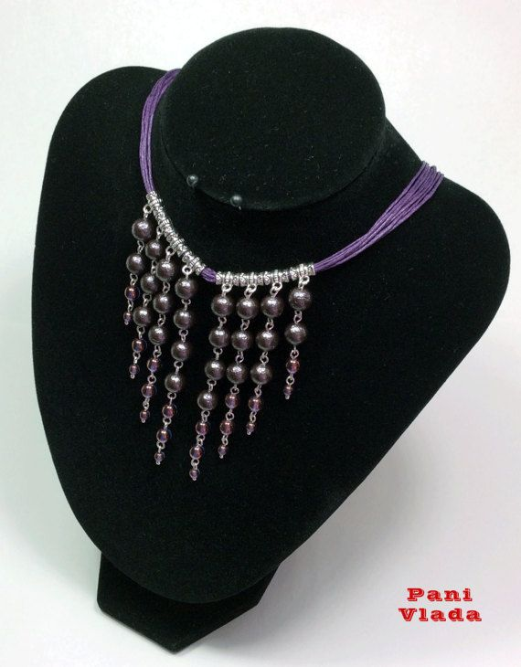 Necklace Southern Night. Majorca pearls Czech crystal by PaniVlada