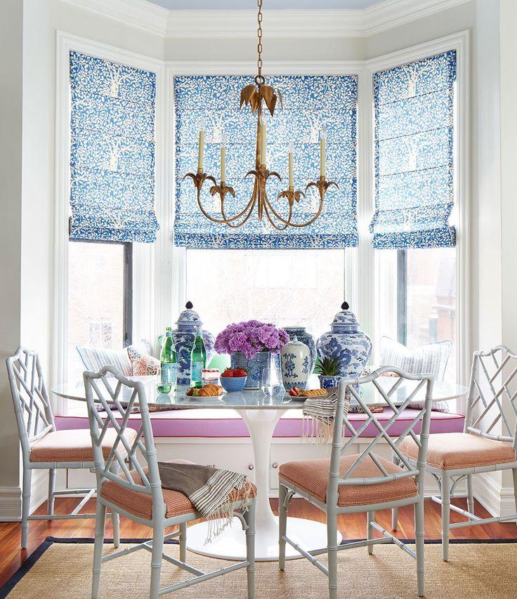 China Seas Arbre De Matisse Reverse Window Shades By Summer Thornton  Quadrille Saarinen Table Breakfast Nook Circa Lighting Chandelier Window  Seat Banquette