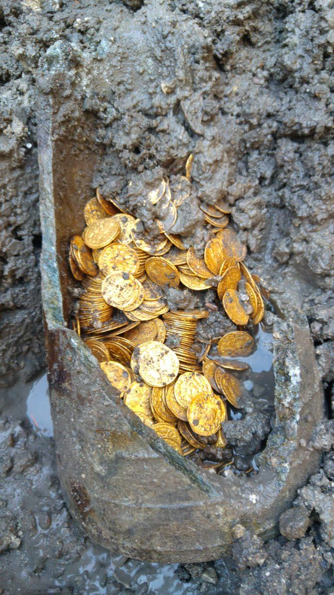 An amphora filled with gold coins was discovered in Como, Italy
