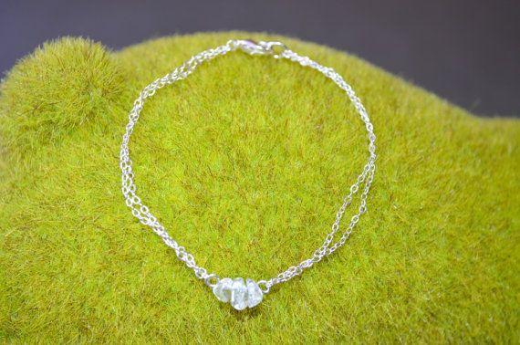 Clear Quartz Bracelet Dainty Silver Chain Bracelet by IndigoLizard