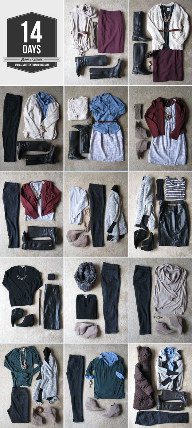 Strategically pack only 13 items to last for a 14 day vacations. I 30 Insanely Easy Ways To Make Your Road Trip Awesome