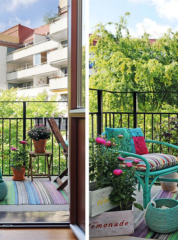 Lawn & Garden Flowers Decoration Balcony Design Black Iron Fence Turquoise Chair Small Balcony Design Ideas Wooden Floor Plant Stripes Seat Also Carpet On Beautiful Balcony Design Smart Ways Decoration of Small Balcony Design Ideas Look Wondrous