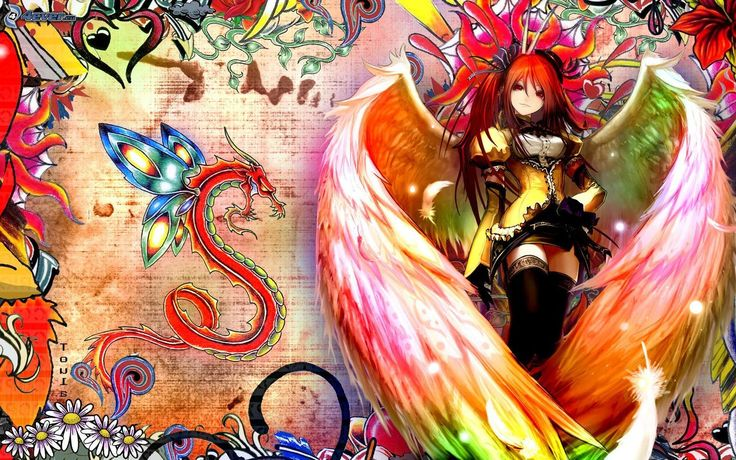 Colourful anime. Beautiful anime angel with red hair and