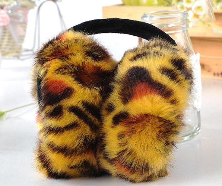 CUHAKCI 2017 Winter Earmuffs Warm Leopard Imitation Earmuff Sunday Angora Yarns Elegant Women Earmuffs Plush Earlap E009