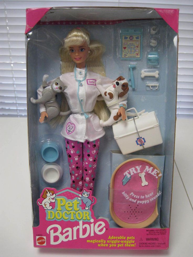Mattel Barbie Pet Doctor Doll w Cat and Dog and Accessories (1996) #Mattel #Dolls