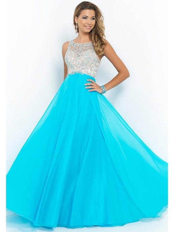 Beaded Blue A Line Sleeveless Open Back Chiffon Prom Dress