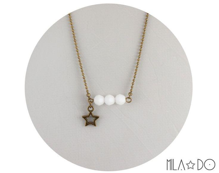Collier Eléa Blanc - Perles facettées verre de Mila Do sur DaWanda.com