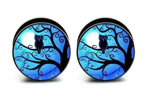 Pair of Acrylic Night Owl  ear plug gauges by Caspianbodyarts, $14.99