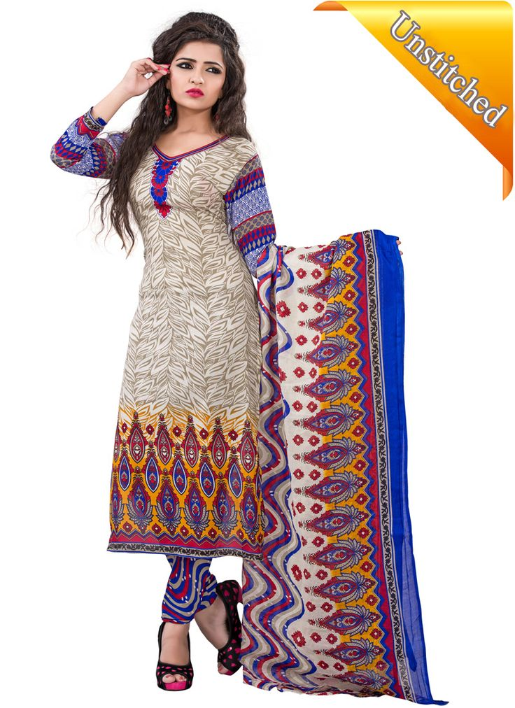 Walk with unique style by wearing gorgeous beige and royal blue coloured cotton casual punjabi dress with printed work.  This is one of the most beautiful & fine collections on uttamvastra: Online Shopping Mobile Application