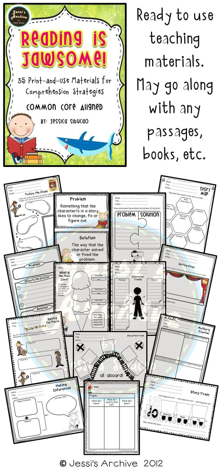 Reading Comprehension: 51 pages - Use this pack to help your students develop their reading skills and comprehension. You may use this to any book/ text. 35 reproducible pages that could be used by students to organize their thoughts about what they read.
