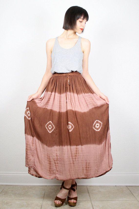 Vintage 90s Midi Skirt Brown Tan Maxi Skirt Tie Dye kirt Gauze Rayon Gauzy Boho Hippie Skirt Festival Skirt Peasant Skirt S M medium L Large... #vintage #etsy #90s #1990s #midi #maxi #tiedye #skirt #gauze #hippie #softgrunge #festival