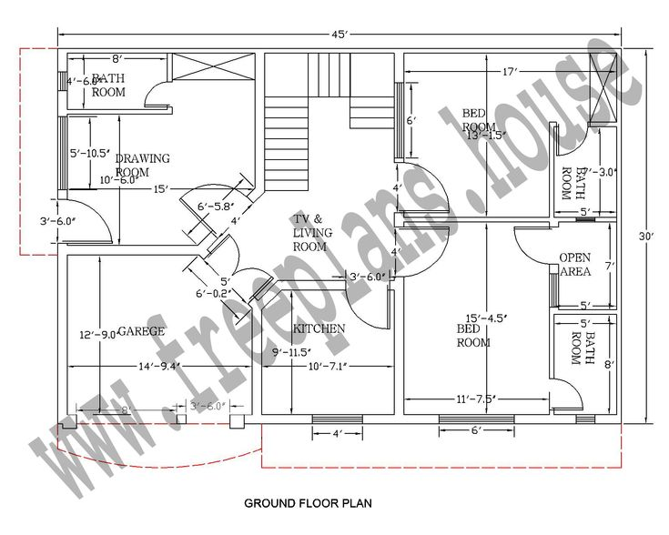 30 45 feet 125 square meter house plan plans Simple square house plans