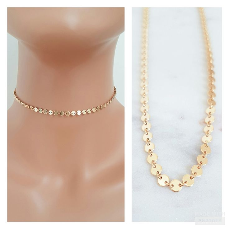 Gold Disc Choker // Tattoo Style Necklace // Celebrity Style *CHOOSE Y - Jewelz by Angie