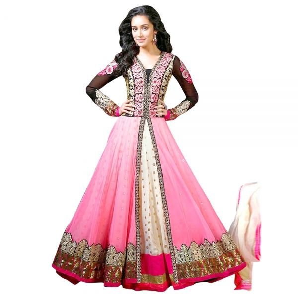 Buy Pink Semi Stitched Georgette & Net Anarkali Salwar Suit Online at cheap prices from Shopkio.com: India`s best online shoping site