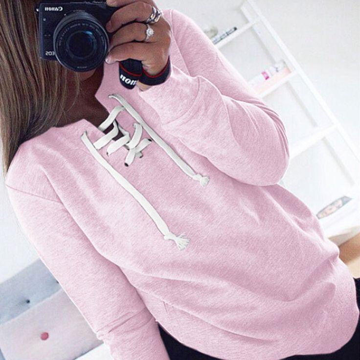 Ince Sonbahar Yaz Chic Dantel up Sweatshirt Kadınlar tops bayanlar Kazak Uzun Kollu Kazaklar Kızlar Pembe Hoodies Ter Femme