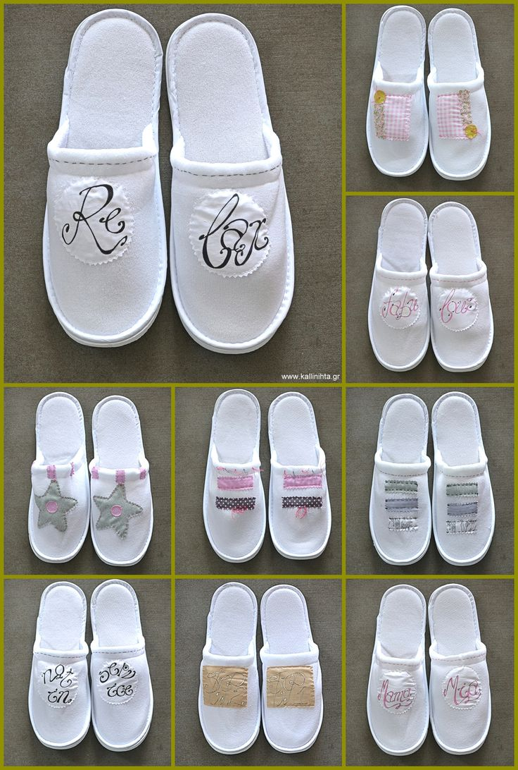 Hand embroidered, cotton velvet white slippers, one size.