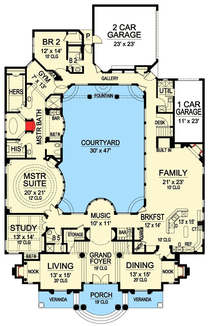 Plan 36186tx luxury with central courtyard house for Luxury adobe style house plans