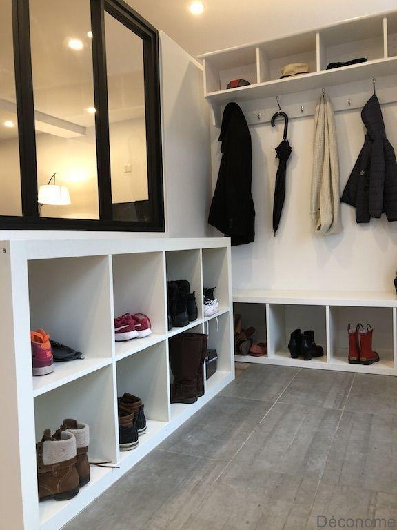 Fabriquer Une Entree Avec Une Verriere Et Des Etageres Ikea Entree Etageres Fabriquer Verriere Decorationent Kallax Ikea Home Room Design Ikea Shelves