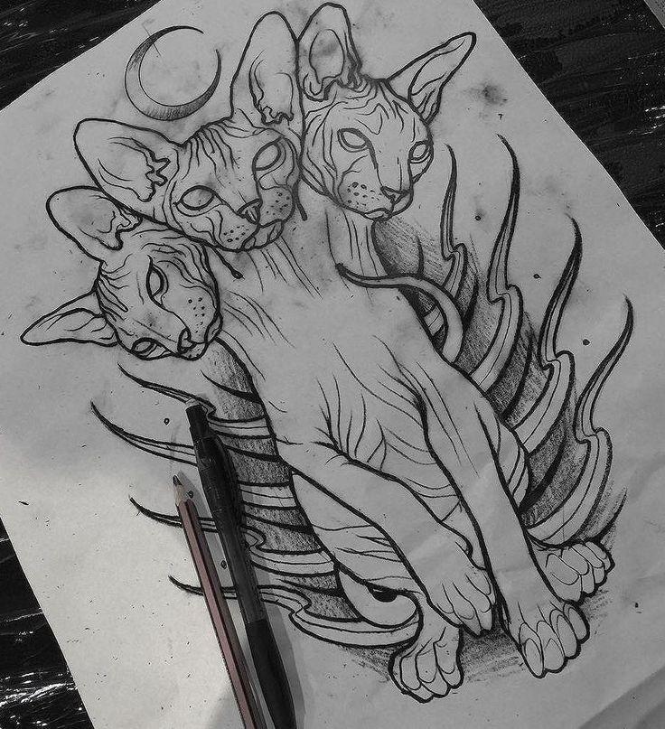 Эскиз тату с трехголовым котом