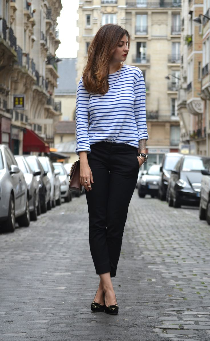 Marinière Armor Lux – pantalon Zara – sac Valentino – escarpins Charlotte Olympia