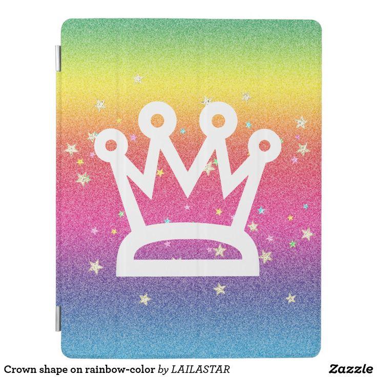 Crown shape on rainbow-color iPad smart cover