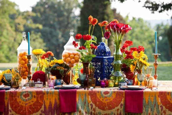Bohemian Centerpiece ideas.  Find colorful faux flowers and decorations at Afloral.com for your bohemian wedding decorations.