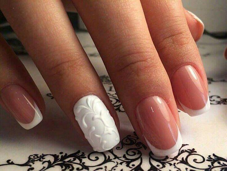 White elegant nail art