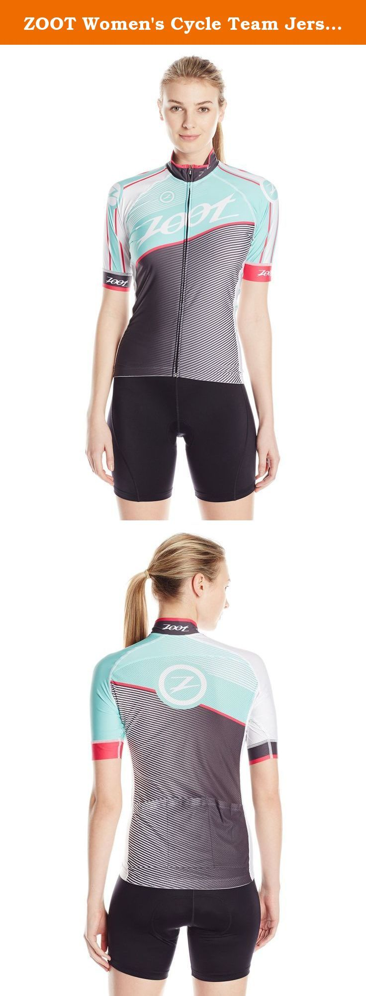 ZOOT Women's Cycle Team Jersey, Aquamarine/Passion Fruit, Medium. Outstanding fit with the benefits of the very best in moisture management, comfort and durability in the new men's cycle team jersey. Perfect anatomic patterning during those long rides makes all the difference when it comes comfort. There are three rear pockets for all of your nutritional storage needs. Enjoy biking in style.