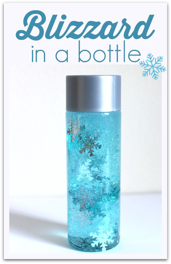 Winter sensory bottle lets children play with a blizzard in a bottle inside! Great preschool science from No Time For Flash Cards.