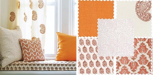 reminder: combine patterns...everything doesn't have to be so matchy matchy!Combinations Patternseveryth, Patterns Everything, Block Prints, Pretty Orange, Prints Curtains, Domino Magazines, Photos Shared