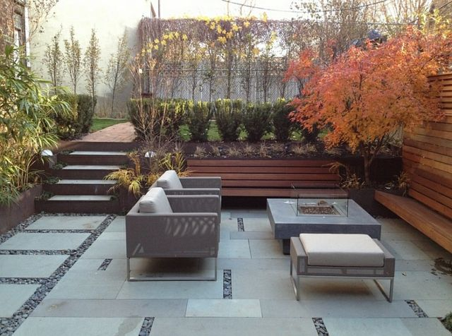terrasse jardin contrebas automne fauteuil