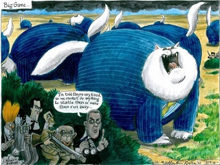 Fat Cats in Striped Suits, Martin Rowson's take on the city in 2010 and three years later during the Cyrpiot crisis.