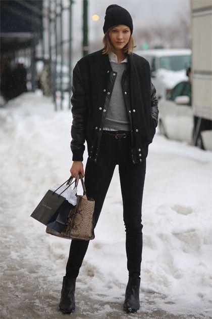 Karlie Kloss's all-black varsity jacket is the COOLEST.