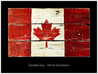 canadian flag - wood horizontal design, distresssed