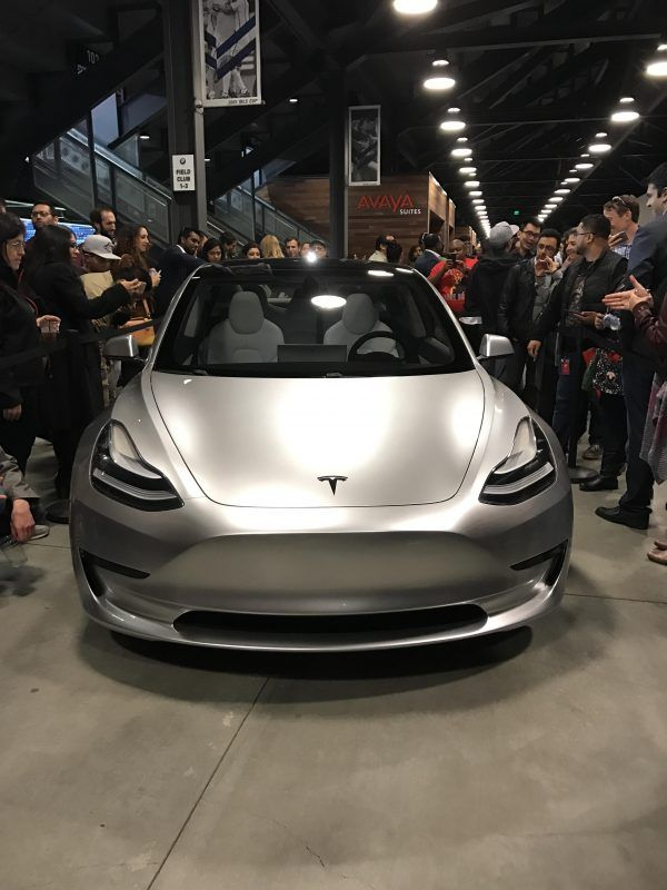 Silver Tesla Model 3 On Display At Q3 Employee Party