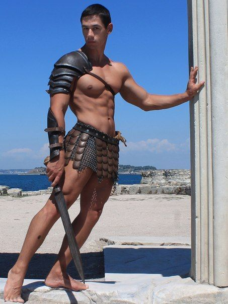 The ancient Greek military must have been a hot place for a young bottom to explore his first group sex experiences… Taking multiple mature daddy cocks at a time in the barracks and showers.