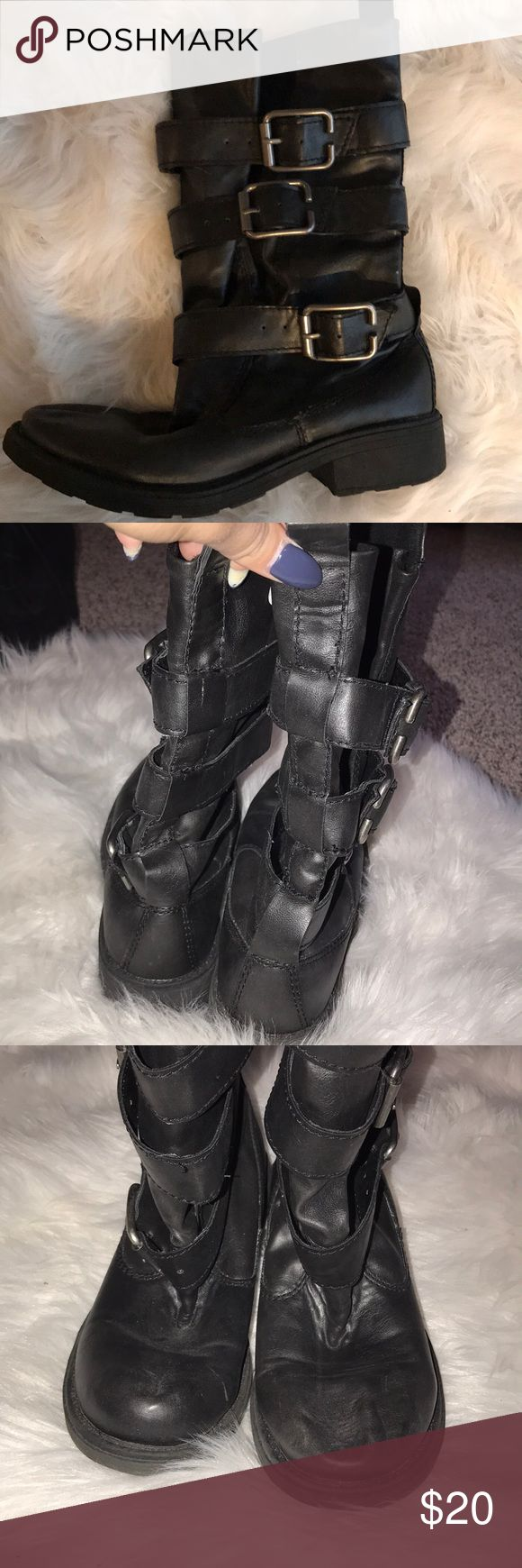Big Buddha boots Black, silver buckles, women's size 6.5, good condition Big Buddha Shoes Combat & Moto Boots