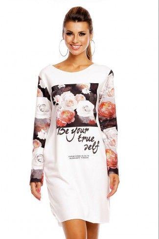 Μακρυμάνικο μίνι φόρεμα με φλοράλ print - Άσπρο Μαύρο