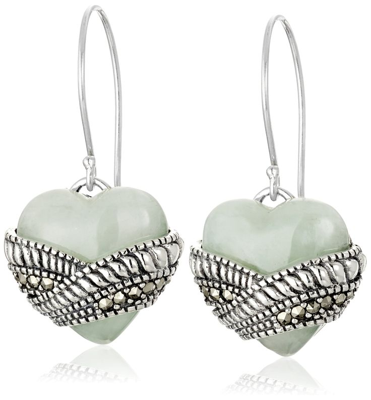 Sterling Silver Heart Shape Jade and Marcasite Drop Earrings: