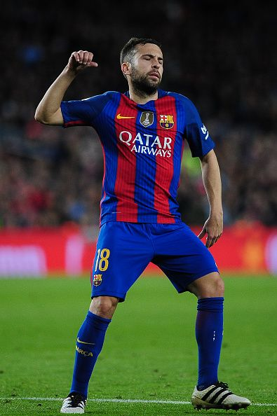 Jordi Alba of FC Barcelona reacts after a missed goal opportunity during the Spanish League match between FC Barcelona vs Malaga CF at Camp Nou...