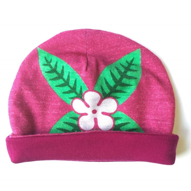 SUMMER SALE | 0-3 months | frangipani | pink | merino baby beanie