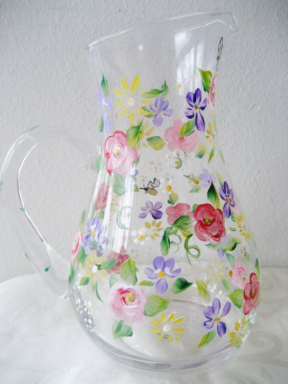 Pitcher or jug painted with flowers  roses and by TivoliGardens, $39.00