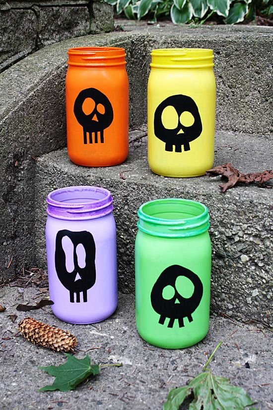 Colorful Skull Luminaries for Halloween