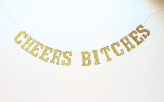 Cheers teven Bachelorette partij Banner Bachelorette partij Decor, bruids douche, duivin partij, gouden Bachelorette teken, bruids partij