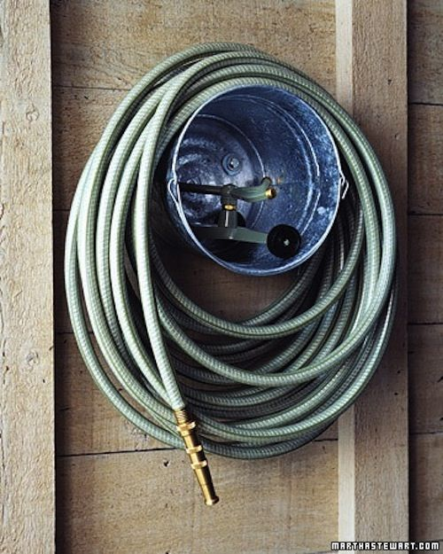 Hose and bucket;  great use and helps organizing in your garden.