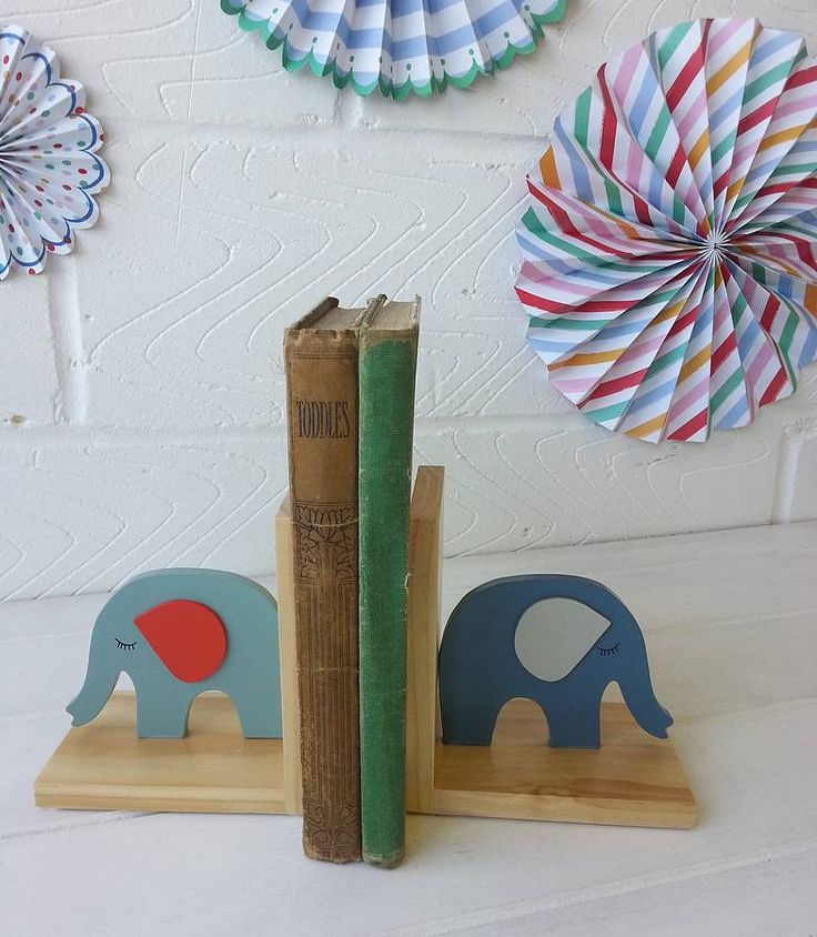 vintage baby wooden elephant book ends by posh totty designs interiors   notonthehighstreet.com