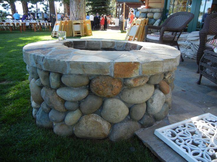 Tahoe cobblestone fire pit. | cottage garden landscaping ...